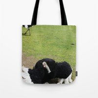 ostrich Tote Bags featuring ostrich by Ezgi Kaya