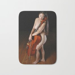 0199-JC Nude Cellist with Her Cello and Bow Naked Young Woman Musician Art Sexy Erotic Sweet Sensual Bath Mat