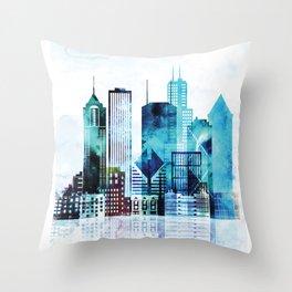 Chicago Illinois Cityscape Throw Pillow