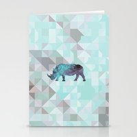 rhino Stationery Cards featuring Rhino by Dnzsea