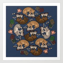 Book Cats Art Print