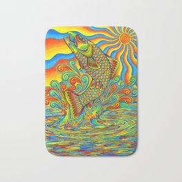 Psychedelic Rainbow Trout Fish Bath Mat