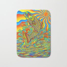 Psychedelic Rainbow Trout Fish Bath Mat