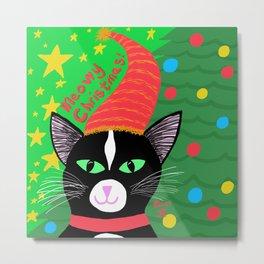Christmas Cat Tuxedo Green Eyes Metal Print