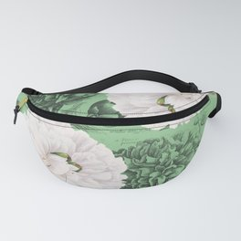 White Peonies Green Chic Fanny Pack