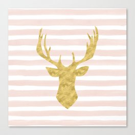 Pink Watercolor Stripes and Gold Deer Canvas Print