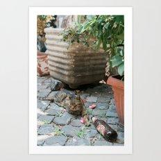 Drunken Kitty Art Print