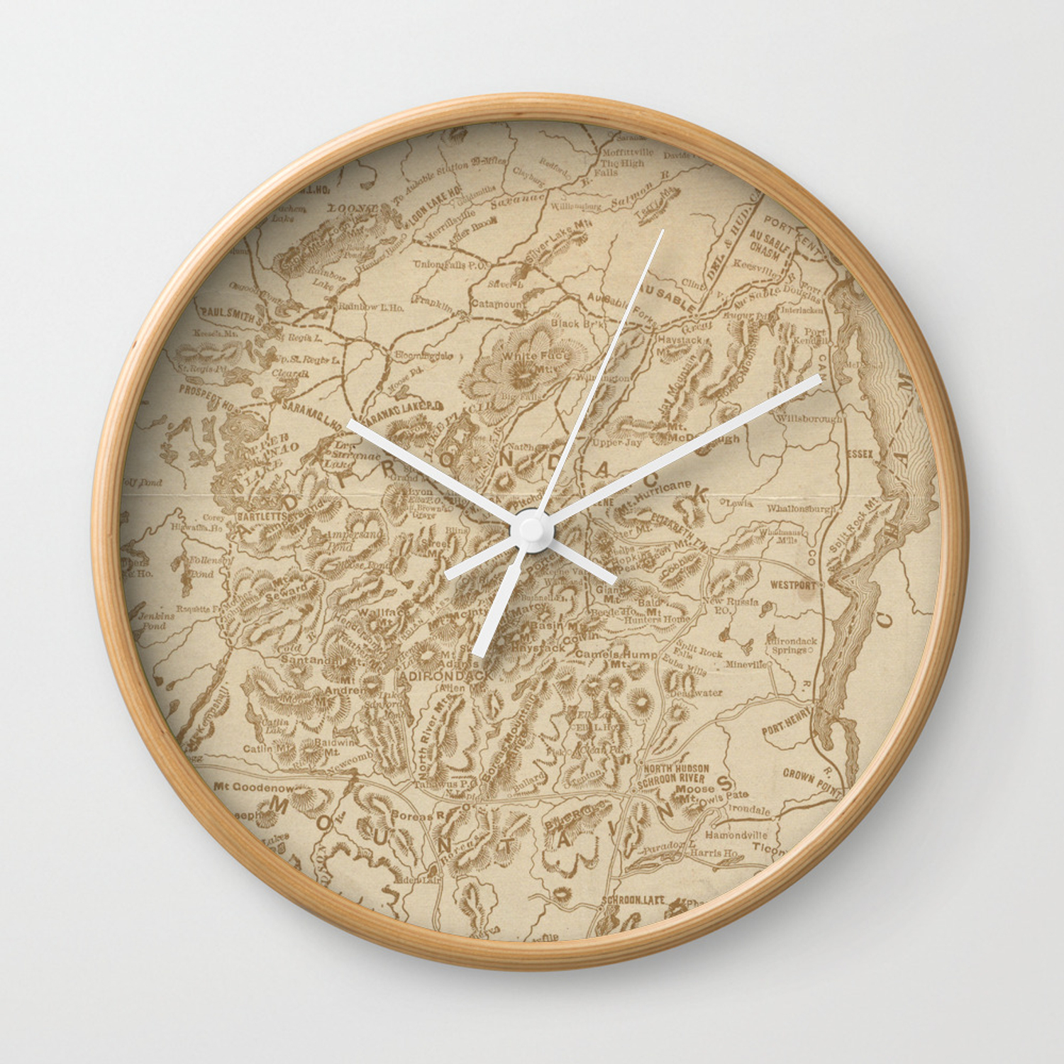 Vintage Map Of The Adirondack Mountains 1880 Wall Clock By Bravuramedia Society6