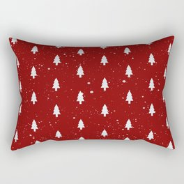 Cristmas Trees Pattern Red And White Rectangular Pillow