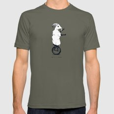 Goat on a Unicycle (labeled) Mens Fitted Tee Lieutenant X-LARGE
