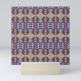 Purple Teal Turquoise Orange Ethnic Mosaic Pattern Mini Art Print
