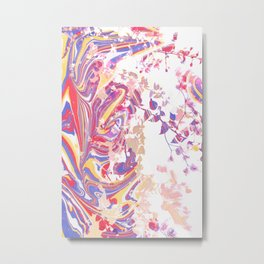 Marble Floral Leaves Metal Print
