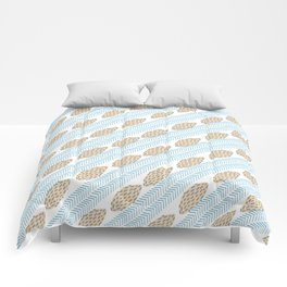 Blue brown watercolor brushstrokes leaves chevron Comforters
