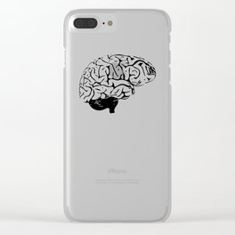 Braaains (black on grey) Clear iPhone Case