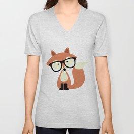 Hipster Red Fox Unisex V-Neck