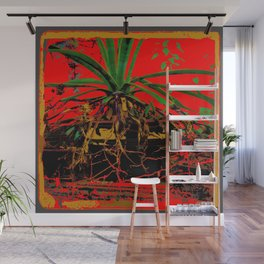 TROPICAL RED GREENHOUSE AGAVE ART Wall Mural