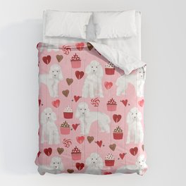 Toy poodle white poodles valentines day cupcakes love hearts dog breed pet portrait pattern gifts pe Comforters