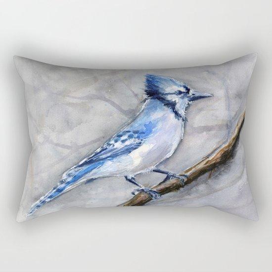 Blue Jay Watercolor Bird Rectangular Pillow