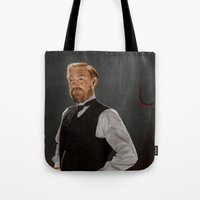 moriarty Tote Bags featuring Moriarty lives by San Fernandez