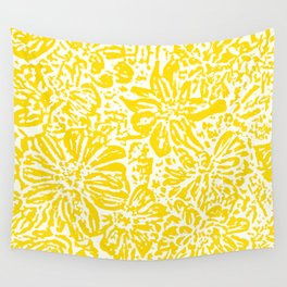 Gen Z Yellow Marigold Lino Cut Wall Tapestry