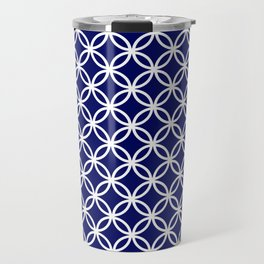 Dark blue and white interlocking circles Travel Mug