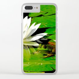Frog with lily flower reflection Clear iPhone Case