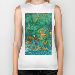 Malachite and Gold Glitter Stone Ink Abstract Gem Glamour Marble Biker Tank