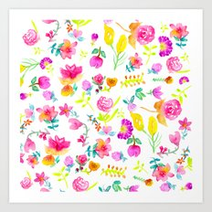 Boho bouquet hand painted watercolor floral Art Print