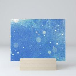 Vintage snow and blue sky Mini Art Print