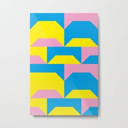 Trapezi e altre forme. Rosa, azzurro, giallo. Sembrano piccoli ponti per bambini, fatti in legno. Metal Print