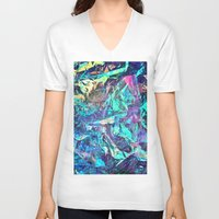 holographic V-neck T-shirts featuring Holographic II by Nestor2