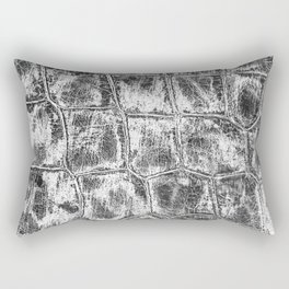 Alligator Skin // Black and White Worn Textured Pattern Animal Print Rectangular Pillow
