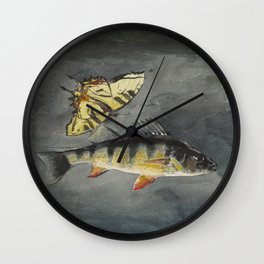 Vintage Winslow Homer Fish & Butterfly Painting (1900) Wall Clock