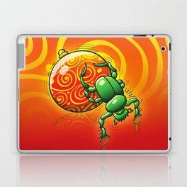 Green Beetle Pushing a Christmas Ball Laptop & iPad Skin