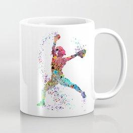 Baseball Softball Pitcher Watercolor Print Art Print Girl's Softball Painting Coffee Mug
