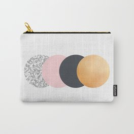 Geometric Circles - Gold Slate and Pink Blush Carry-All Pouch