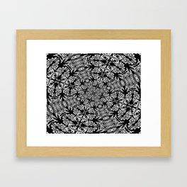 Fallen Leaves Black and White Kaleidescope Framed Art Print