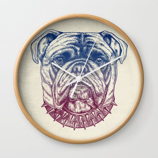 Gritty Bulldog Wall Clock