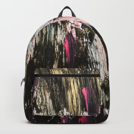 Elegant Abstract Black Pink Faux Gold Acrylic Brushstrokes Backpack