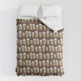 Coffee Cup Line Up in Expresso Brown Duvet Cover