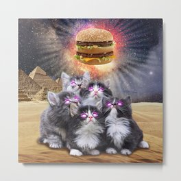 space cats looking for the burger Metal Print