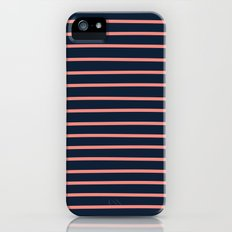 Navy and Coral Stripes Slim Case iPhone (5, 5s)
