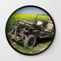 jeep Wall Clocks featuring Willys MB Jeep by EMangl