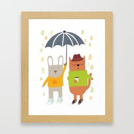 Hipster bunny and cat Framed Art Print