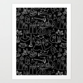 Cats and Ghosts-Black and White Art Print