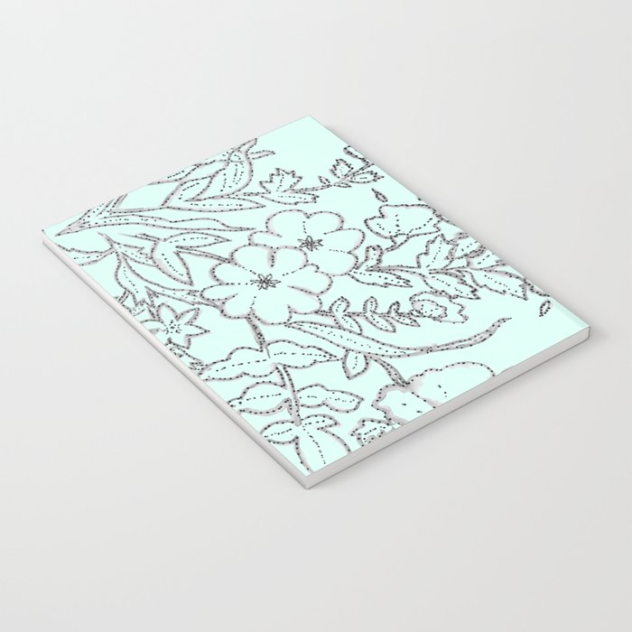 Dotted Floral Scroll in Mint and Grey Notebook