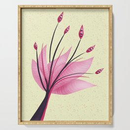 Pink Abstract Water Lily Flower Serving Tray