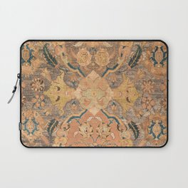 Persian Motif III // 17th Century Ornate Rose Gold Silver Royal Blue Yellow Flowery Accent Rug Patte Laptop Sleeve