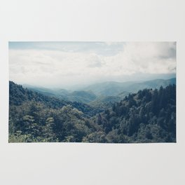 misty mountain morning Rug