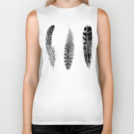 Feather Trio | Black and White Biker Tank